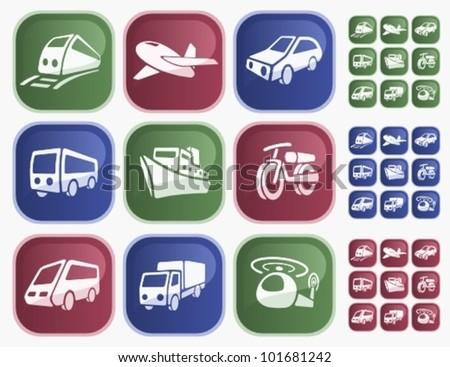 Transportation button set - stock vector