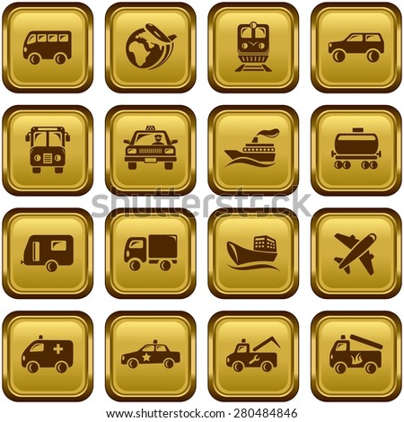 Transportation button set - stock vector