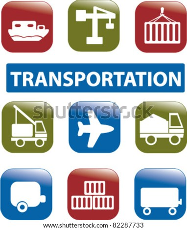 transportation buttons, icons, signs, vector illustrations