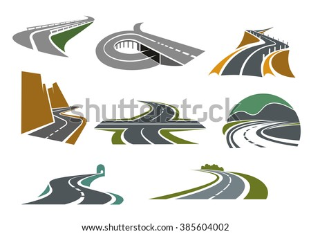 Transportation emblems and traveling symbols design with crossroad, highway with ramp, mountain roads, tunnel, rural bypass freeway icons - stock vector