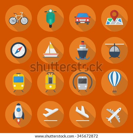 Transportation Flat Icon Set Collection - stock vector