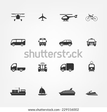 Transportation flat icons set - stock vector