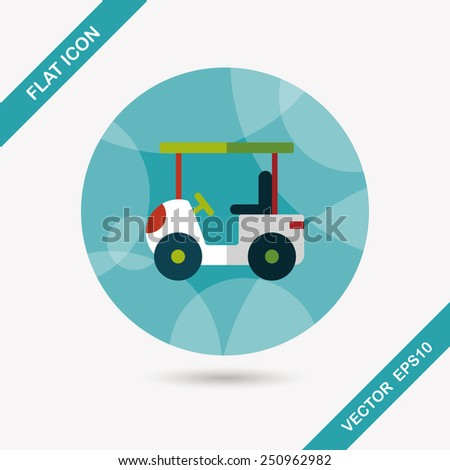 Transportation Golf Cart flat icon with long shadow,eps10 - stock vector