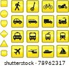 Transportation Icon on Yellow Sign Button Collection Original Illustration - stock vector