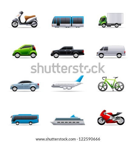 Transportation icon series in colors - stock vector