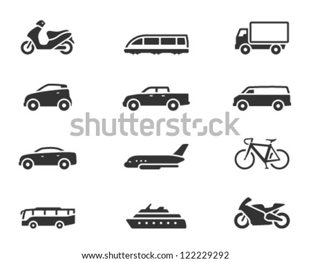 Transportation icon series in single color - stock vector
