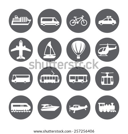 Transportation icon set. Silhouette.  - stock vector