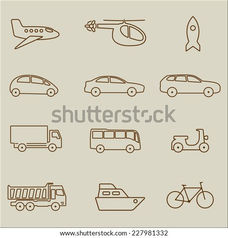 Transportation icon set. Vector outline illustration: car, airplane, bike, ship, lorry, truck bus, helicopter. - stock vector
