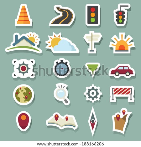 transportation icons and map icons - stock vector