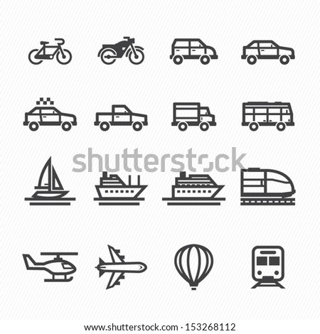 Icons and vehicles icons with white background stock vector