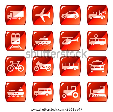 Transportation icons buttons vector set 4