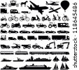 Transportation icons collection - vector silhouette - stock photo