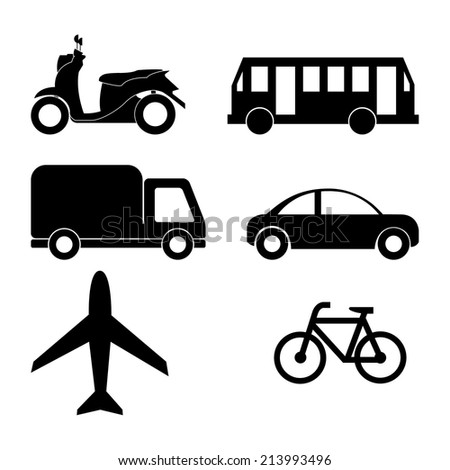 Transportation icons collection. Vector silhouette. - stock vector