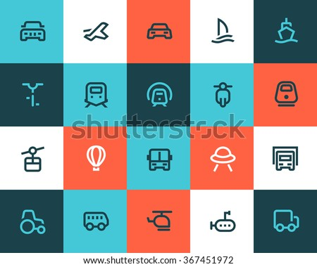 Transportation icons. Flat style - stock vector