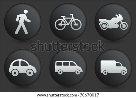 Transportation Icons on Black Internet Button Collection Original Illustration - stock vector