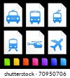 Transportation Icons on Colorful Paper Document Collection Original Illustration - stock vector
