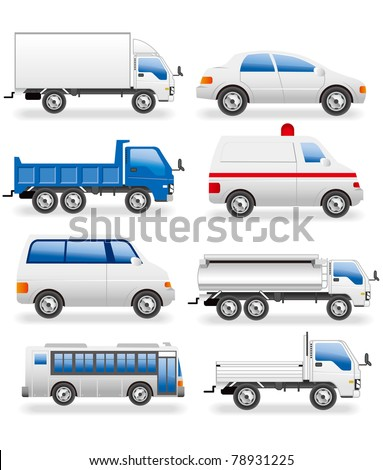 transportation icons real - stock vector