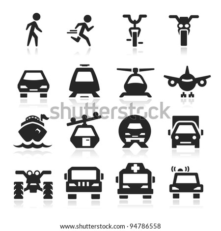 Transportation Icons set Eegant series - stock vector