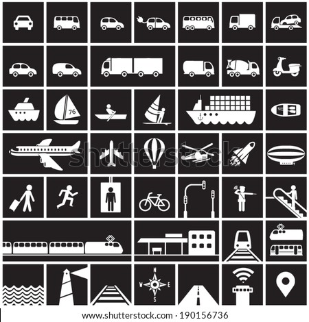 Transportation icons set - road, rail, water, air transport symbols & design elements.High contrast - White on Black - stock vector