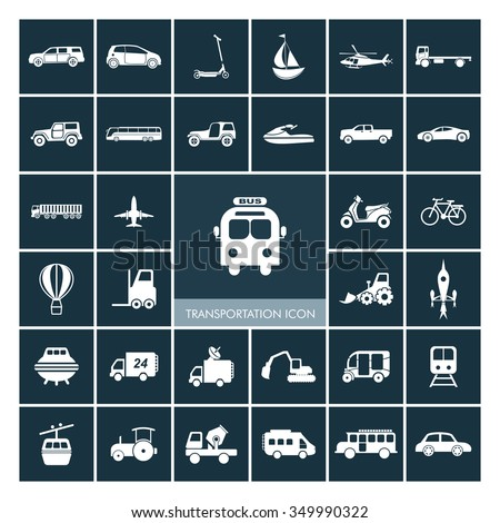 Transportation icons set. Vehicle Icons. - stock vector