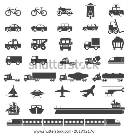 transportation icons sets, mono vector symbols - stock vector