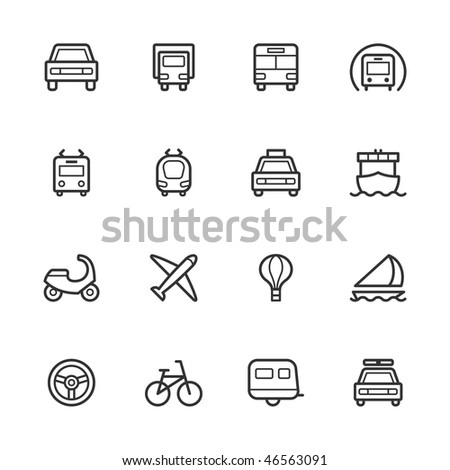 Transportation icons. Strokes have not been expanded. - stock vector