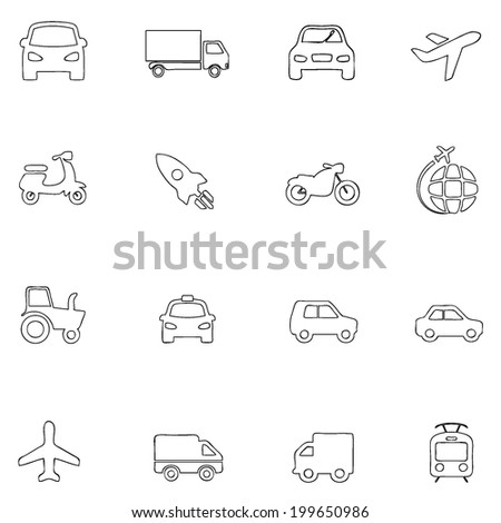Transportation icons thin line drawing by hand Set 2 - stock vector