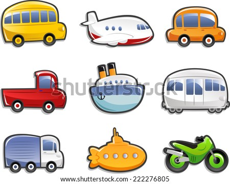 Transportation Icons Bus Plane Car Truck Stock Vector 222276805 - Shutterstock