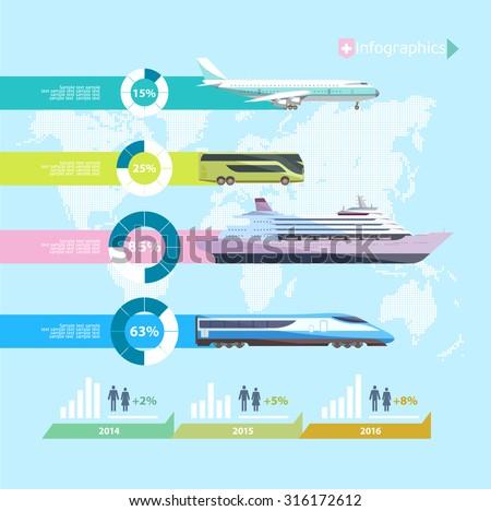 Transportation infographics. Flat design. - stock vector