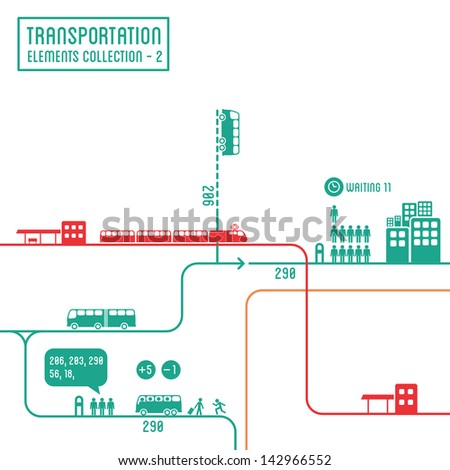 Transportation infographics - graphic elements collection 2, bus routes & train station - stock vector
