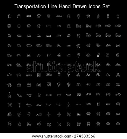 Transportation line Hand Drawn Icons set  - stock vector