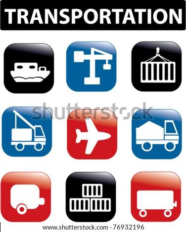 transportation, logistics presentation buttons, icons, signs, vector illustrations - stock vector