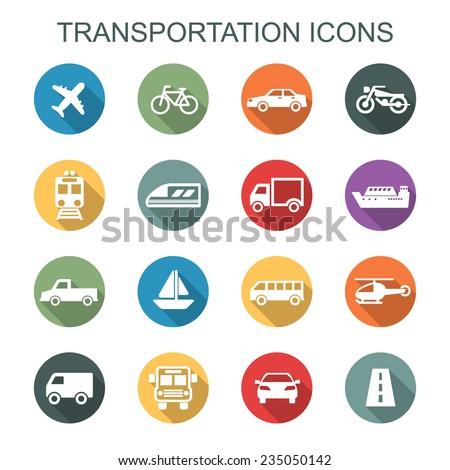 transportation long shadow icons, flat vector symbols - stock vector