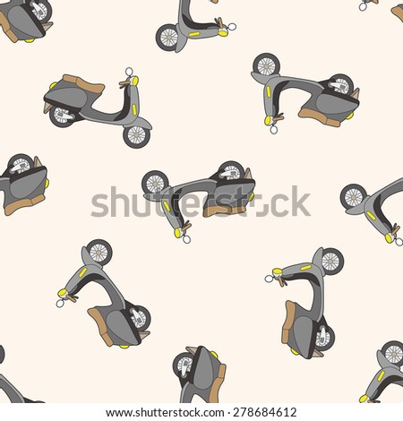 transportation motor, cartoon seamless pattern background - stock vector
