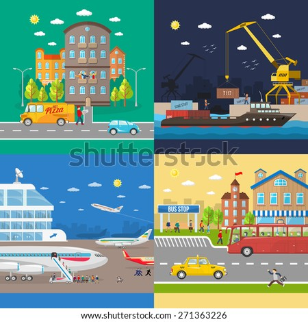 Transportation of passengers on the plane and on the bus and goods delivery isolated vector illustration - stock vector