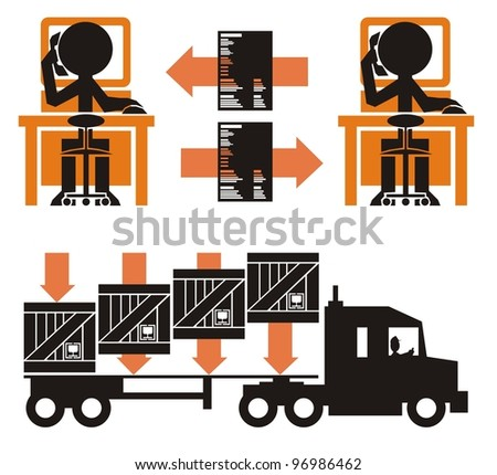 Transportation paperwork process, part 1 - cargo in crates being loaded on to a flat bed general truck trailer - stock vector