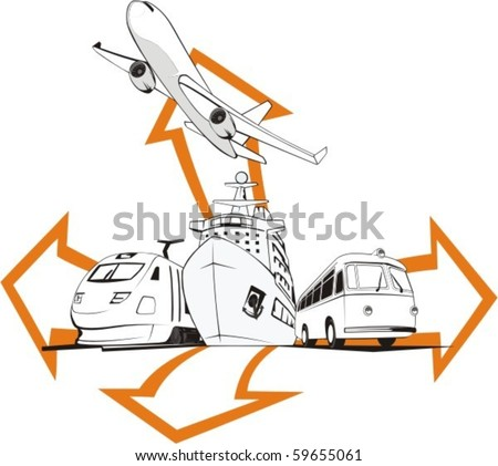 transportation passenger by all means of transport - stock vector