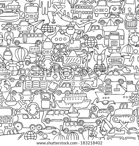 Transportation seamless pattern in black and white (repeated) with mini doodle drawings (icons). Illustration is in eps8 vector mode. - stock vector