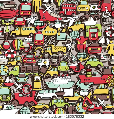 Transportation seamless pattern (repeated) with mini doodle drawings (icons). Illustration is in eps8 vector mode. - stock vector