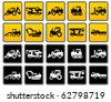 Transportation silhouettes collection, icons design element, vector illustration - stock vector