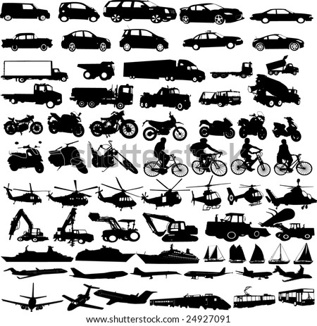 transportation silhouettes collection - vector - stock vector