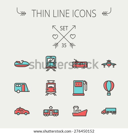 Transportation thin line icon set for web and mobile. Set include-gas pump, vessel, car, train, bus, boat icons. Modern minimalistic flat design. Vector icon with dark grey outline and offset colour - stock vector