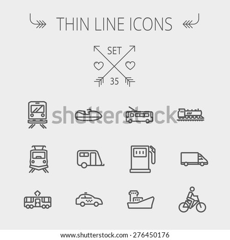 Transportation thin line icon set for web and mobile. Set includes- gas pump, vessel, car, train, bus, boat  icons. Modern minimalistic flat design. Vector dark grey icons on light grey background. - stock vector