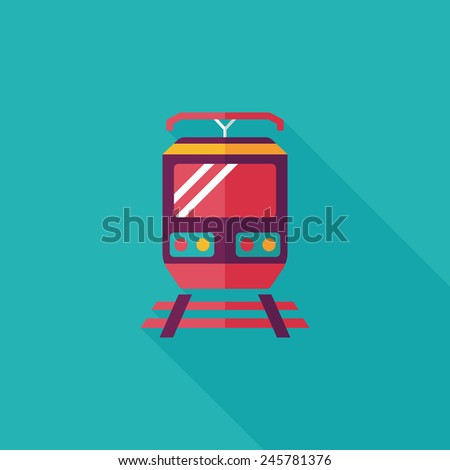 Transportation train flat icon with long shadow,eps10 - stock vector