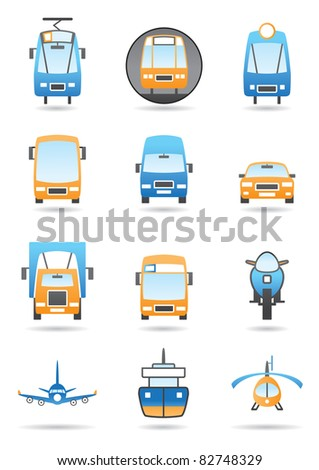 transportation vector icon set - stock vector