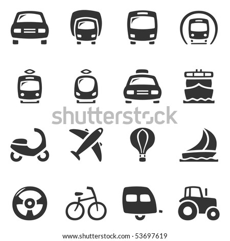 Transportation vector icons. Slightly asymmetric and curvy. - stock vector