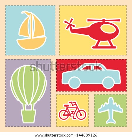 transports icons over pink background vector illustration
