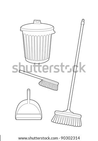 Trash and brush drawing - stock vector
