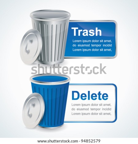 Trash and delete glossy buttons with container - stock vector