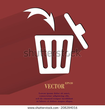 Trash bin. Flat modern web button with long shadow and space for your text. Vector. EPS10 - stock vector